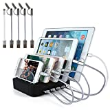 USB Charging Station Multi Charger - 5 Port Docking Quick Charging Stand Multi-Device Charger Compatible for Galaxy S8, Cell Phones, iPhone, Samsung, Tablets [Including 5 USB Charging Cables] - OPAI (Black)