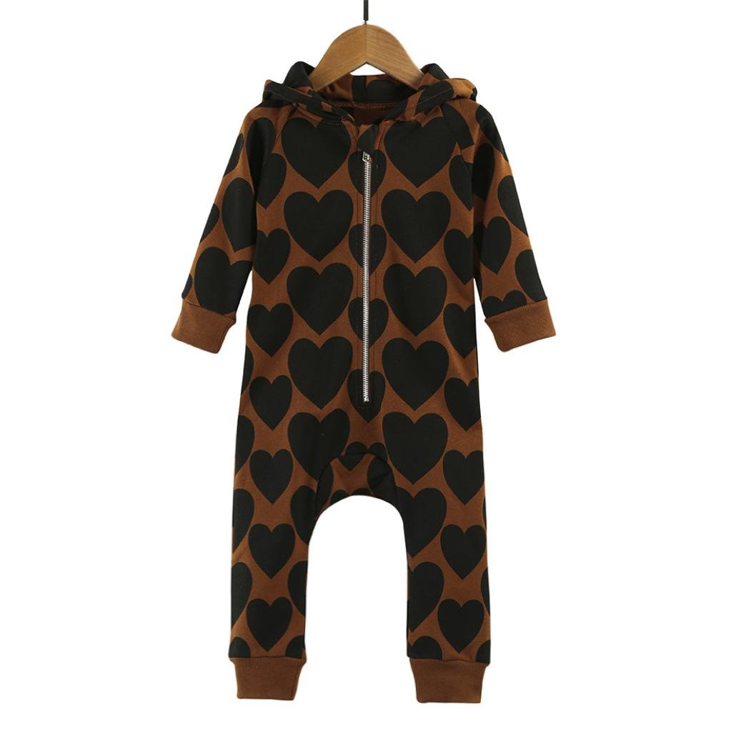 Kid Clothes Baby Boys Girls Ziper Print Hooded Romper Thicker Jumpsuit Vibola