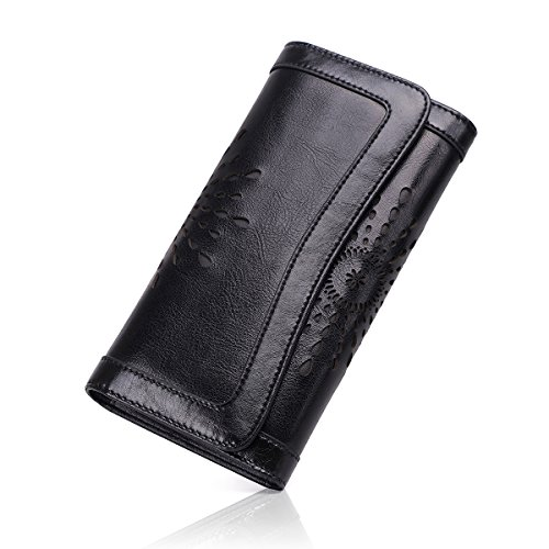 APHISON Ladies Soft Genuine Leather Long Wallet Trifold Clutch Purse Credit Card Holder Case for Women With Gift Box 3214(Black)