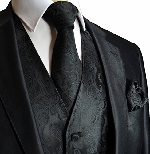 Men's Black Paisley Design 3pc Dress Vest NeckTie Pocket Square Set for Suit or Tuxedo (4XL (Chest 56))