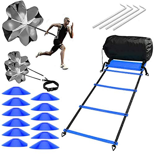 ARTARMON Speed & Agility Ladder Training Set With 2 Resistance Parachutes & 12 Disc Cones