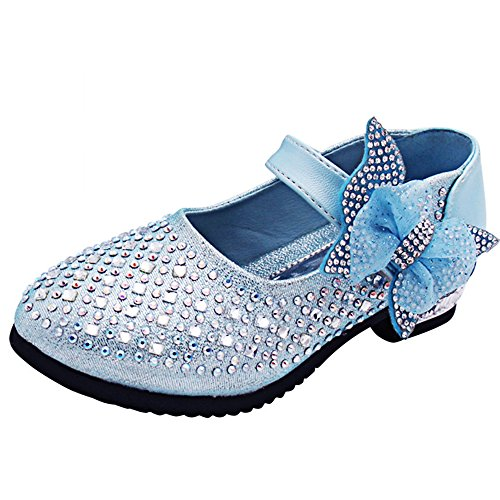 YING LAN Little Big Girl Glitter PU Leather Mary Jane Shoes Blue -