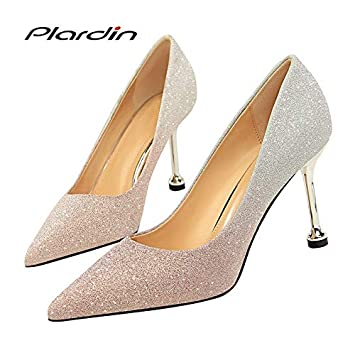 b5d0b4dfba Amazon.com: JSGJGGX High Heels Shoes Woman Sequins Pointed Toe Sexy ...