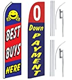 Car Auto Dealer Swooper Flutter Feather Flags & Poles 2 Pack-Best Buys-0 Down