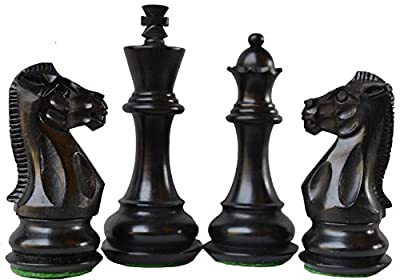 Limited Edition Wooden Ebonised Weighted Chess Set 32 Chess Pieces King 4""