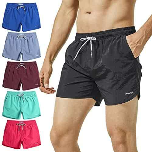95eeb4a2d0df9 MaaMgic Mens Boys Short Solid Swim Trunks with Mesh Lining Quick Dry Mens  Bathing Suits Swim