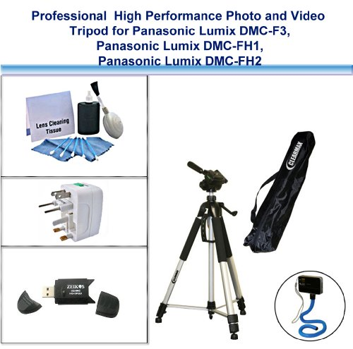 Professional High Performance Photo and Video Tripod with Flexible Monopad, USB Card Reader, Universal Adapter and 5PC Lens Cleaning Kit for Panasonic Lumix DMC-F3, Panasonic Lumix DMC-FH1, Panasonic Lumix DMC-FH2 by ClearMax