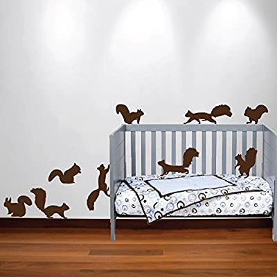 Innovative Stencils Squirrel Wall Decal Nursery Sticker Set Add to Tree Wall Decals Decor for Kids Rooms #1250 (12 Squirrel Decals Included) (Matte Black): Home & Kitchen