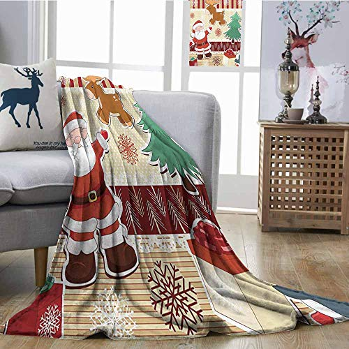 Zmcongz Sofa Blanket Christmas Decorations Collection Cute Santa with Reindeer and Penguin Toys Snow Celebration Kids Room Design Patterns Super Soft and Warm, Durabl W51 xL60 Multi