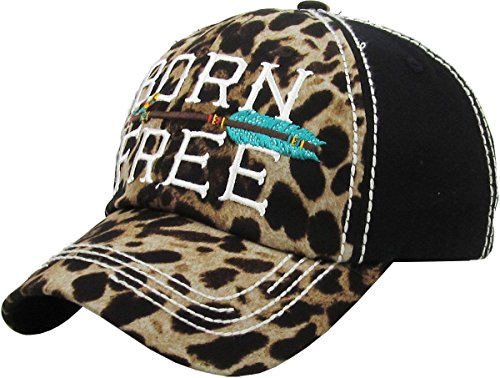 KB Adjustable Born Free Aztec Arrow Cheetah Leopard Hat Cap Black Turquoise