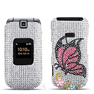 Hard Plastic Snap on Cover Fits Samsung M260 Factor Monarch Butterfly Full Diamond/Rhinestone Boost Mobile (Please carefully check your device model to order the correct version.)
