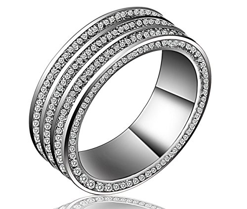 Lucky Dora Platinum Plated 3 Rows Pave Set Neutral Band Rings with CZ for Men and Women, Size 5