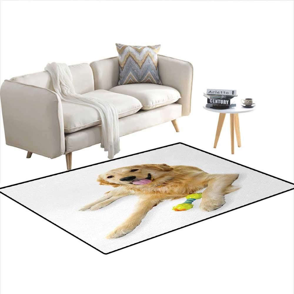 color12 40\ color12 40\ Carpet,Pet Dog Laying Down with Toy Friendly Domestic Puppy Playful Companion,Indoor Outdoor Rug,MulticolorSize 40 x55
