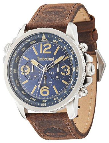 Timberland 13910JS-03 Mens Campton Dark Brown Leather Strap Watch