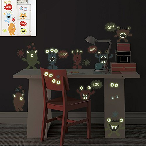 DecalMile Cartoon Monster Fluorescent Wall Stickers Glow In The Dark Wall Decals Vinyl Wall Art Removable Wall Murals For Kids Nursery Children's Room