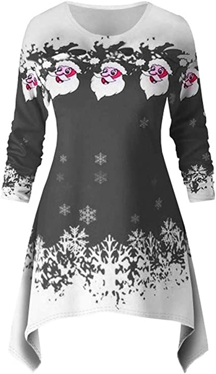 Crew Neck Reindeer Snowflake Print Long Sleeve Mini Dress Christmas Sweatshirt Dress for Women