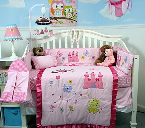 SoHo Pink Owl Castle Baby Crib Nursery Bedding Set 14 pcs