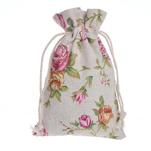 3.5' Rose (12 Pieces 3.5x6'' Rose Jute Double Drawstring Favor Bag Burlap Bag Burlap Linen Favor Bag Pouch for Wedding Party Favor)