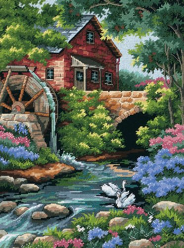 Dimensions Old Mill Cottage Needlepoint Kit-12 Inch x16 -