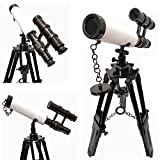 collectiblesBuy New Retro Marine Designer Double Barrel Telescope White Leather Covered Antique Wooden Black Tripod Authentic Gift Item
