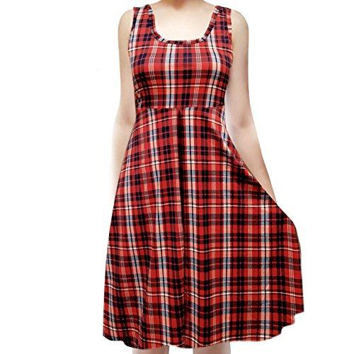 SMT Women's Sleeveless Flowy Midi Summer Beach A Line Tank Dress Plaid Red (Navy) - Dress Sleeveless Plaid