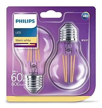 Philips pack de 2 bombillas LED estándar de filamento, efecto vintage, casquillo gordo E27