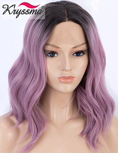 K'ryssma Short Bob Lace Front Wig Ombre Purple Synthetic Wig for Women Dark Roots to Ash Purple Wavy wig Heat Resistant