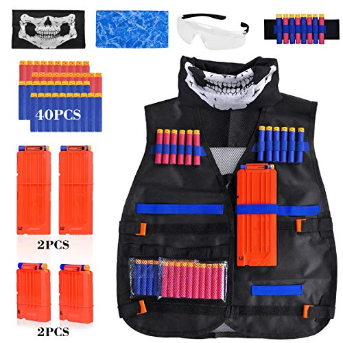 Kids Tactical Vest Kit for Nerf Guns N-Strike Elite Series, with 40 Pcs Refill Darts, 4 Reload Clips, 2 Face Tube Masks, 1 Hand Wrist Band and Protective Glasses by Meland