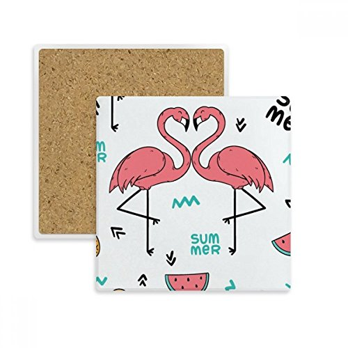 (Flamingo couple Lover Square Coaster Cup Mug Holder Absorbent Stone for Drinks 2pcs Gift)