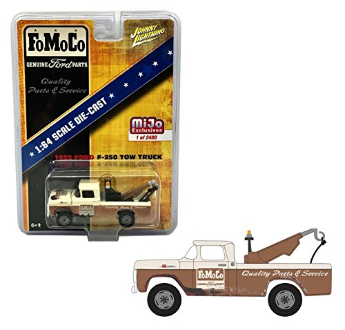 Auto World New 1:64 Johnny Lightning MIJO Collection - Brown 1959 Ford F-250 Tow Truck - FoMoCo Diecast Model Car ()