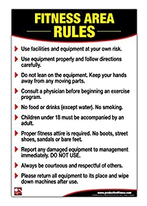Amazon.com : Fitness Area Rules Poster/Chart: Gym Safety