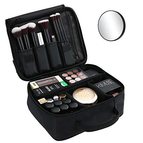 🥇 Bolsa de Maquillaje Ligera PortátilBolsa de Almacenamiento de Maquillaje con Asa Acolchada Bolsa de Viaje Maquillaje Cosmético Bolsa Multifuncional para Viajes y Viajes de Negocios