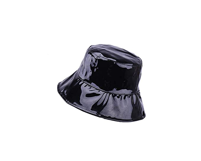 ACVIP Women s Patent Leather Floppy Sun Bucket Hat (Black) at Amazon ... 803cce6336e