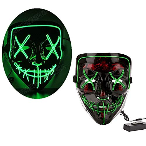 LEWOTE Halloween Mask, LED Light Up Mask for Halloween Festival Cosplay Costume Party (Black-Green)