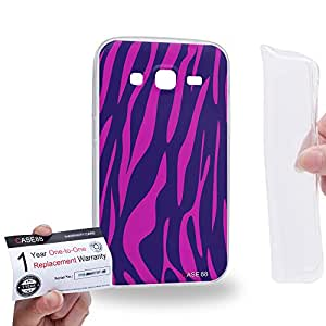 Case88 [Samsung Galaxy Core Prime G360] Gel TPU Carcasa/Funda & Tarjeta de garantía - Art Fashion Purple Tiger Multi Colored Animal 1455