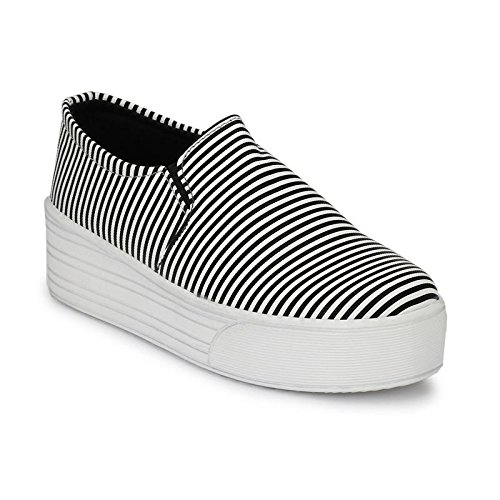 7dc9f451b76 Neso Women Fashion Sneakers Casual Slip On White Black Flat Shoes High Top  Hidden Heel Wedges Platform Shoes