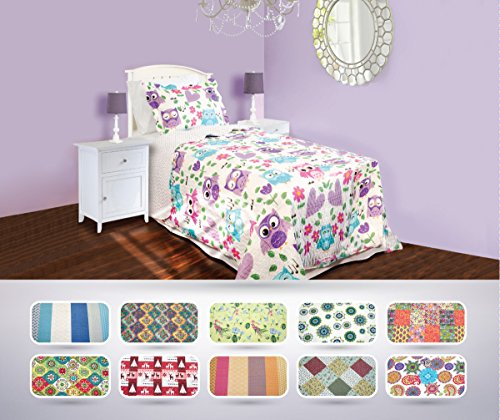 The CONNECTICUT HOME COMPANY Luxury Quilt Collection, Reversible, Top Choice by Decorators, Many Sizes and Patterns, All Season Weight, Machine Washable (Periwinkle - Twin) (Twin Bedding For Girls Quilts)
