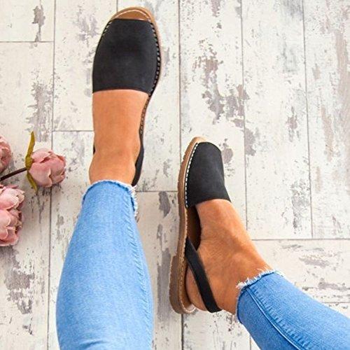 de de MEIBY Verano Casuales Playa Sandalias Mujer Retro Roma Opentoe Estilo Estilo Negro Zapatos Sandalias de Sandalias Plano Tacón de Sandalias 6Tqw6r