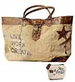 Mona B Live, Work, Create Upcycled Canvas Shoulder Bag M-1966 with Coin Purse