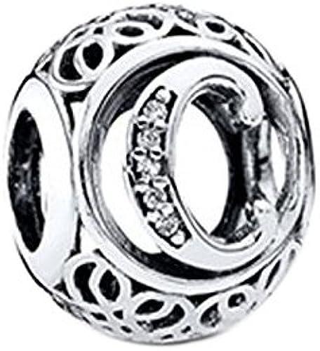 Breloque pour bracelet Pandora, Chamilia, en argent 925, lettre C de style  antique