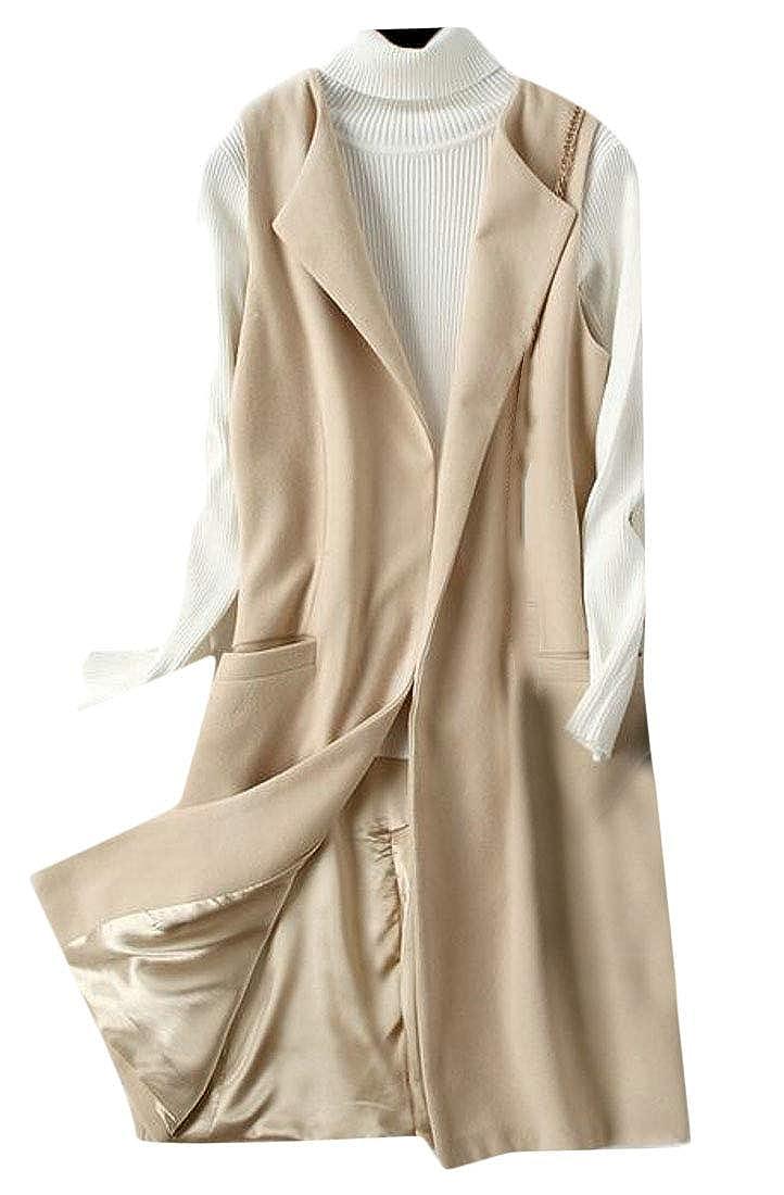 X-Future Womens Plus Size Wool Coat Sleeveless Open Front Lapel Longline Jacket Vest