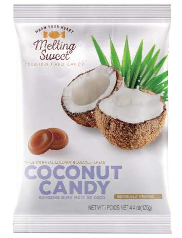 Slices Wrapped Individually (Melting Sweet Premium Individually Wrapped Coconut Hard Candy, 4.4 oz bag)