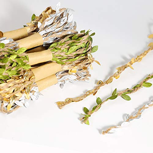 UNIQOOO 12Rolls,120 Ft. Artificial Vines Leaf Ribbon Trim,Gold, Sliver, Green,Satin Burlap Olive Leaves,40Yards,For Garlands Wreath Decor,Packaging, Balloon Tail, Gift Wrapping,Greenery Embellishments (Colored Fairy Multi Ribbon)