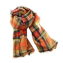 Plaid Blanket Scarf Women Big Square Scarves Warm Shawl- 3 colors (orange)