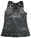 Junior Girls Aloha Hibiscus Crochet Back Stripe Burnout Sheer T-Shirt Tee Black L