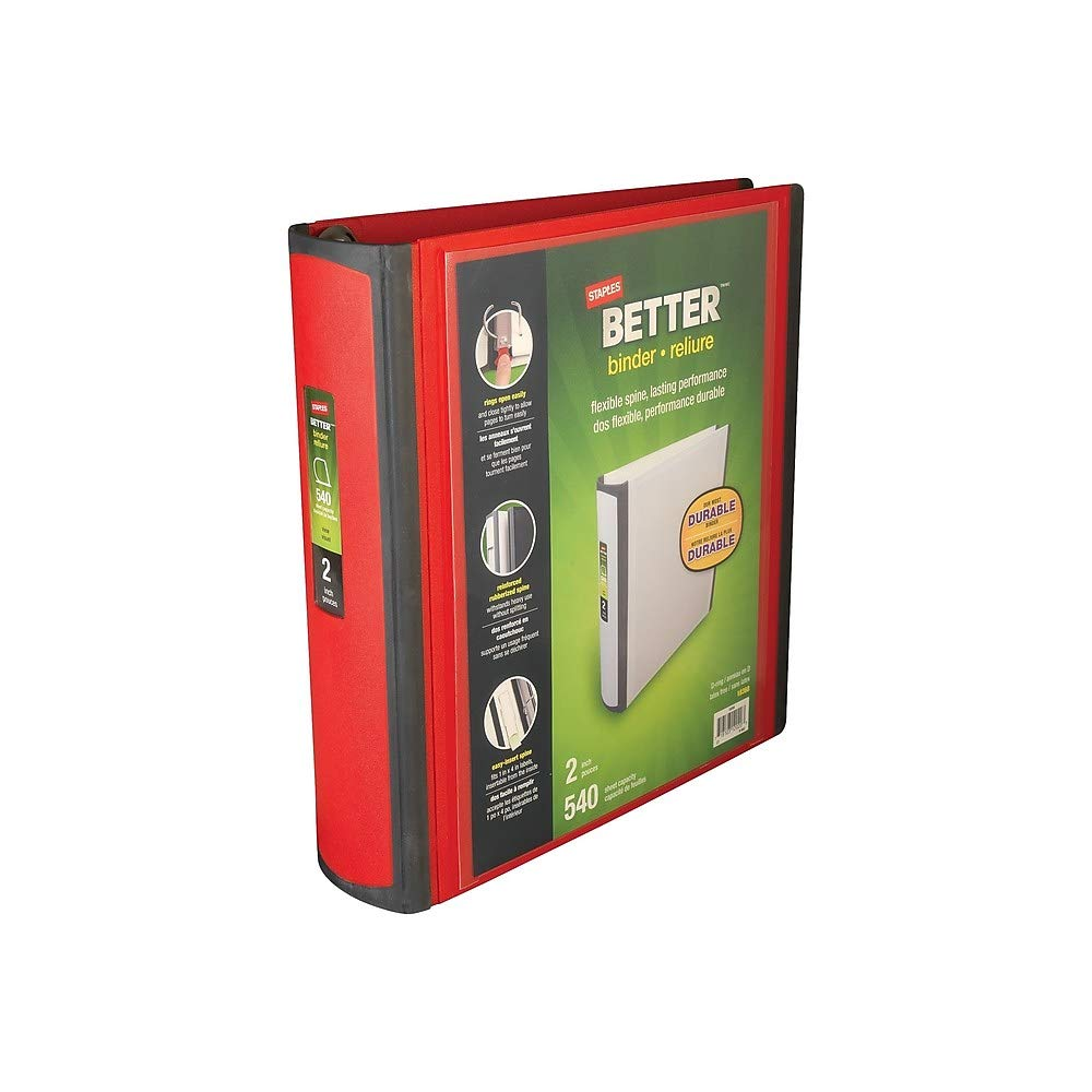 Staples Better Binder, 2-Inch, Red