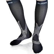 Blitzu Compression Socks 20-30mmHg for Men & Women BEST Recovery Performance Stockings for Running, Medical, Athletic, Edema, Diabetic, Varicose Veins, Travel, Pregnancy, Relief Shin Splint Black L/XL