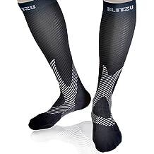 BLITZU Compression Knee High Socks Black L/XL