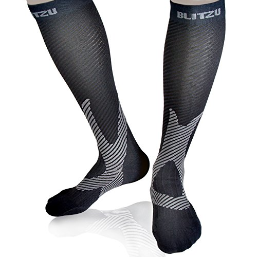 Blitzu Compression Socks 20-30mmHg for Men & Women BEST Recovery Performance Stockings for Running, Medical, Athletic, Edema, Diabetic, Varicose Veins, Travel, Pregnancy, Relief Shin Splint Black L/XL