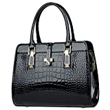Women Patent Leather Alligator Stripe Handbag Shoulder Bag Cross Body Bag(Black)
